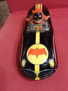 Vintage Friction Tin Car Toy  Japan batmobile Trade Mark Modern Toy