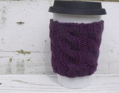 Coffee Cup Sleeve, Coffee Mug Cozy - Cable Knit Coffee Cup Cozy in Eggplant Purple. $10.00, via Etsy.
