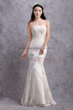 Lace Appliques Sheath Zipper-Up Glamorous under 200 Wedding Dresses nw-0170
