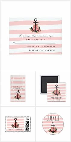 Romantic Pink Nautical Wedding Collection - invitations, rsvp cards, postage stamps, gift bags, stickers, magnets, napkins + more. Pink and white stripe design with romantic floral nautical anchor design.