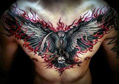 Chest Flames Tattoo Designs For Guys                                                                                                                                                     More