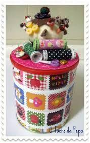 Resultado de imagen para Reutilizando latas #Reuse #Fabric Artesanato com tecido da