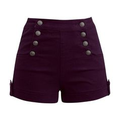 High Waist Sailor Girl Denim Shorts in Burgundy with Anchor Buttons... ❤ liked on Polyvore featuring shorts, high rise denim shorts, high-waisted shorts, high waisted stretch shorts, stretchy jean shorts and denim shorts