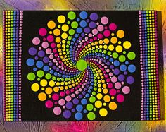 """Items similar to Original Handpainted Dot Art, Dot Painting """"Rainbow Rotate Spots"""" Colorful Wall Art # on Etsy - Original hand-painted dot art # 36 Painted on a canvas with acrylic paints measuring 13 x 18 cm. Mandala Art, Mandala Canvas, Mandala Rocks, Mandala Painting, Mandala Pattern, Mandala Design, Dot Art Painting, Stone Painting, Art Pierre"""
