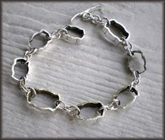 things made with a hollow handled butter knife   Vintage Silverplate Hollow Knife Slice Link Bracelet #2