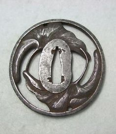 Ginkgo Leaf Wakizashi Tsuba. Carved Iron. Japan. Circa Edo Period.