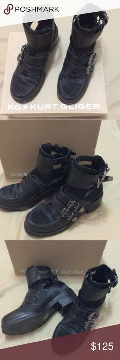 Kurt Geiger black leather boots British designer leather boots with calf hair accents and buckle details. In great condition with original box! Kurt Geiger Shoes Combat & Moto Boots