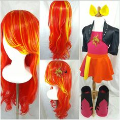 Check out this item in my Etsy shop https://www.etsy.com/listing/464607111/sunset-shimmer-red-yellow-wig-hair-clip