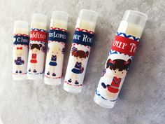 This listing is for a set 5 Cheerleading custom lip balms. This item can be personalized with text of your choice e.g. Happy Birthday, Names, Thank