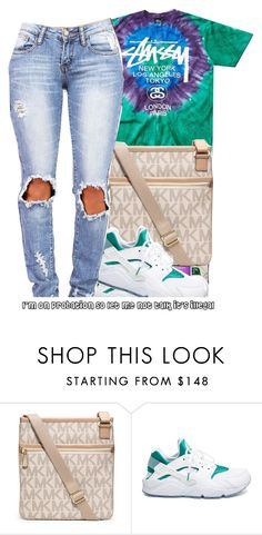"""""""Stussy."""" by prvncessbeautifulmee ❤ liked on Polyvore featuring мода, Stussy, MICHAEL Michael Kors и NIKE"""