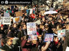 Photo by @manabouttownnyc: Thousands here! Huge #protest of the #Muslim travel ban. #nobannowall