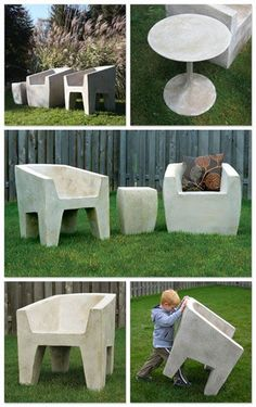Lightweight Concrete Furniture - Zachary A Design Furniture | Design Happens #concretegarden