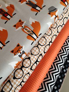 Fox fabric bundle by Andie Hanna for Robert Kaufman- 1/2 Yard Fabric Bundle, 5 total on Etsy, $27.50