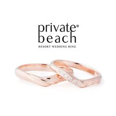 Private Beach Rose Gold Wedding Bands