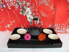 Japanese Teapot Tea Service Black Asian by MicheleACaron on Etsy