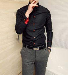 Stylish Shirt Collar Color Block Argyle Design Long Sleeves Polyester Shirt For Men (BLACK,M) | Sammydress.com