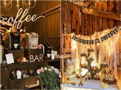 rustic barn wedding food decor / http://www.deerpearlflowers.com/rustic-wedding-details-and-ideas/