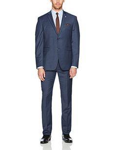 Original Penguin Men's Slim Fit Solid Suit, Blue, 42 Regular