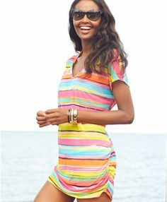 7f81b2d25e16a Love this: Shortsleeve Striped Mesh Tunic Cover Up @Lyst Bathing Suit Covers,  Bathing