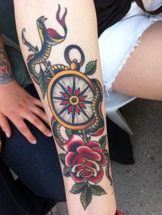 Traditional Snake, compass, and rose tattoo
