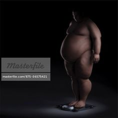 Anatomical model of an obese person standing on scales.