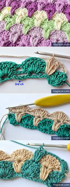 40 Super Ideas For Crochet Edging Tutorial Easy Ideas Crochet Stitches Free, Crochet Scarf Easy, Crochet Chart, Love Crochet, Crochet Gifts, Crochet Motif, Knitting Patterns Free, Crochet Baby, Stitch Crochet
