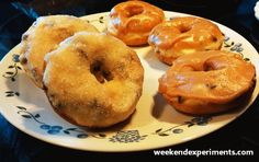 Baked donuts with mini chocolate chips and peanut butter glaze.