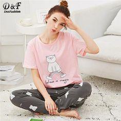 Dotfashion Cartoon Cat   Letter Print Pajama Set Summer Girls Round Neck  Short Sleeve Sleepwear Multicolor 5b65c540f