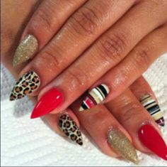 Strips,cheetah print and red