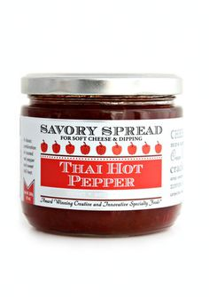 Thai Hot Pepper Spread - perfect for soft cheese, cream cheese and as a sweet and spicy dipping sauce for chicken, eggrolls, wings and more.