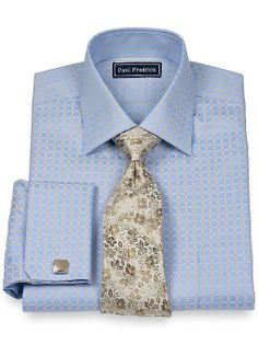 100 cotton grid pattern club eyelet collar french cuff for Mens eyelet collar dress shirts