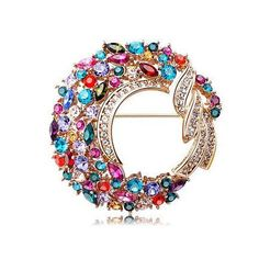 Swarovski Color Crystal Circle Brooches Gold
