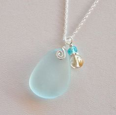 Sea Glass Jewelry Light Sky Blue Necklace by OceanCharmsSeaGlass, $30.00