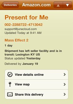 Delivery Status touch, a package tracker