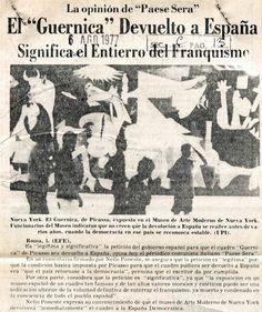 """El """"Guernica"""" devuelto a España. Publicado el 06 de agosto de 1977."""