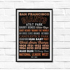 San Francisco Giants by Type League Press - poster canvas gift etsy man cave christmas home decor print printable typography graphic design