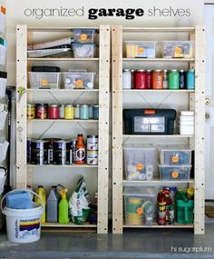 Great ideas to help you organize your garage once and for all! Love the leftover paint in the canning jars! No more searching!