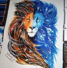 Awesome #lion #drawing, via @SickDrawings on Twitter.