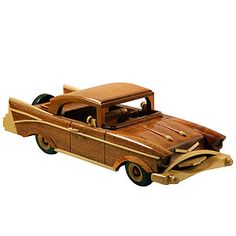 Carved Wood Vintage Car