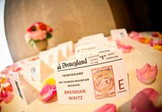 Disneyland Ticket Escort Cards // From: 11 Disney Wedding Ideas That Aren't Cheesy // Featured: The Knot Blog