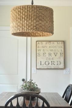 "Wicker pendant light lamp shade & signage: ""As for me and my house, we will… Wicker Pendant Light, Diy Lampe, Home Signs, Lamp Shades, Sign Design, Decoration, Light Fixtures, Home Accessories, My House"