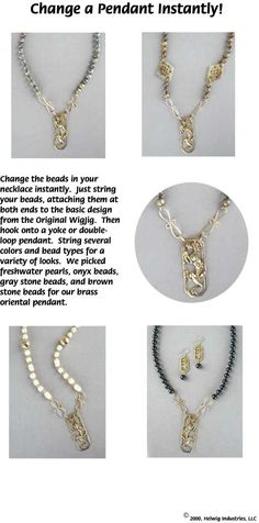 Change-a-Pendant Wire and Beads Necklace made using WigJig jewelry making tools and jewelry supplies.