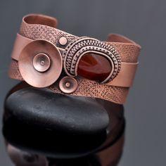 wire wrapping, cuff bracelet, copper cuff, abstract poppies, poppy jewelry, wire wrap jewelry, art jewelry, jewelry design, earthy jewelry, whimsical jewelry