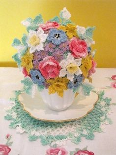 Springtime Tea Cup Bouquet Crochet PDF Pattern by BellaCrochet, $7.95