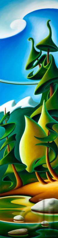 Capilano by Dana Irving Landscape Illustration, Landscape Art, Illustration Art, Landscape Paintings, Art And Craft Design, Naive Art, Seascape Paintings, Whimsical Art, Tribal Art