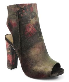 This Black & Red Floral Open-Heel Limelight Bootie is perfect! #zulilyfinds