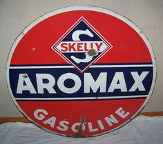 Skelly Aromax Gasoline Antique Porcelain Sign (Vintage 1930 30 inch 2 Sided Gas & Oil Advertising Sign)
