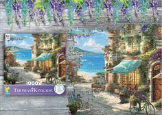 If ever a place could whisk away the troubles of the day, it would be here. Enjoy Ceaco's 1000 piece puzzle featuring Italian Cafe by Thomas Kinkade Studios.     #thomaskinkadestudios #ceaco #puzzles