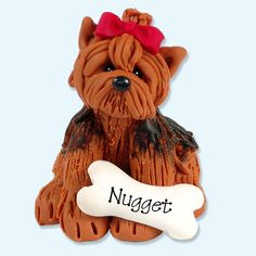 Yorkie / Dog / Puppy / Handmade Polymer by PersonalizedOrnament, $15.95  PERFECT CHRISTMAS GIFT OR STOCKING STUFFER!
