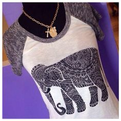 Back in stock!!  We have a bunch of new arrivals today!  Including this popular elephant tee!  #freshairboutique #fayettevillear #restocked #newarrivals #boutique #topseller
